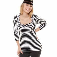 Carree Shirt mit tollen Rüschen, schwarz-weiß Gr. 2XL Karneval Köln