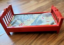 Adorable 11 in. Wooden Red Doll Bed Barbie? EUC