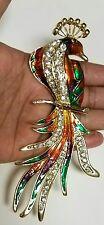 Peacock Pin Brooch Multi Rhinestone Crystal Big Huge Bird