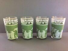 Wedgewood Retro Green & White Jeanette Jasperware Glasses Gretian Motif Set of 4