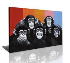 "Pictures XXL art on canvas 31"" x 23"" framed motive funny happy monkeys 4004"