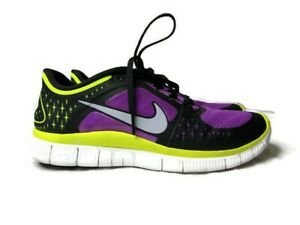 Nike Womens Free Run 3  510643-553 Laser Purple Volt Black Running Shoes Sz 9.5