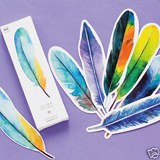 30Pcs/Pack Delicate Feathers Paper Bookmark Book Marks Marker Label Stationery