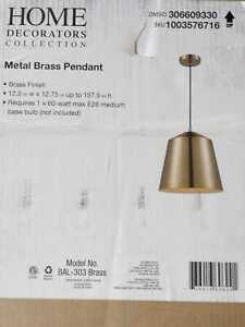 Home Decorators Collection 1-Light Metal Brass Pendant