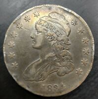 1834 Capped Bust Half Dollar Small Date & Letters Extremely Fine XF Dets Rim Dmg