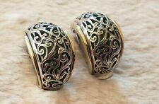 Konstantino Earrings 18K & Sterling Scroll Design Clip Style Excellent Condition