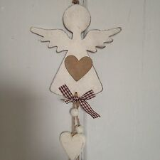 Hanging Wooden Angel with Hanging Hearts And Bells