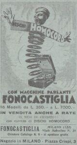 V1941 Discs Hocord With Machines Talking Fonocastiglia - 1931 Advertising