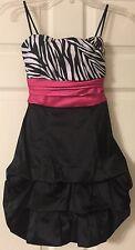 Juniors NWOT Formal Homecoming Prom Dress Sz 3 Zebra Black Pink Bow-Speechless