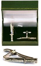 Hunting Bowie Knife Cufflinks & Tie Clip Bar Slide Mens Gift Set Shooter Present