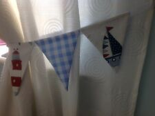 BOYS BUNTING CURTAIN NAUTICAL TIE-BACKS - Boats, Lighthouse & Baby Blue Gingham