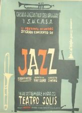 1957 Uruguay Swing Festival & Jazz concert poster 18x13 inche SUPERB DESIGN RARE
