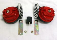 Street Rod Car Universal Red Hi Low Horn Set with 30 40 Amp Relay Rat Rod