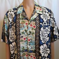 KoleKole Men 2XL Hawaiian Blue Shirt White Hibiscus Spear Fishing Mission Church
