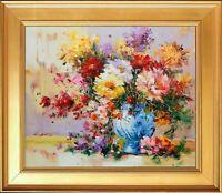 Framed Original Impressionist E.Calton's Floral Bouquet Oil Painting on Canvas