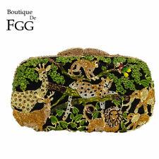 Zoo Forest Jungle Animals Evening Clutch Bag Women Crystal Handbag Purse