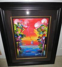 "PETER MAX  ""BETTER WORLD III"" MIXED MEDIA PAINTING & LITHOGRAPH ON PAPER  Signed"