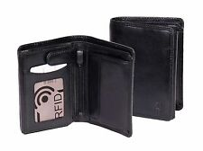 Mens RFID Blocking BLACK Leather Bifold Wallet ID Credit Cards Cash Coins BOXED