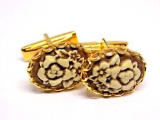 Handmade, Brown Flower Cameo Cufflinks, Gold Rhodium Plated Toggles