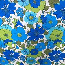 Vintage Bolt Upholstery Fabric Mod Retro Flowers Blue Green White 26 yards MCM