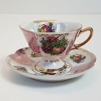 Shafford Tea Cup and Saucer Hand Decorated Lusterware Fruit Basket Footed Japan