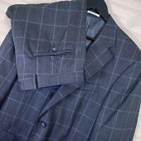 Peter Millar 100% Wool 2pc. Suit Grey Windowpane Men's Size 42S/W36