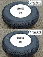 PAIR OF BARGAIN 145x80 B10 145x10 TRAILER TYRES-4 PLY TUBELESS RATED 375kg /TYRE