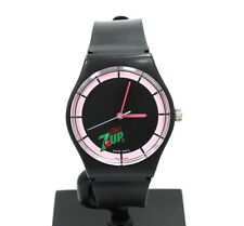RETRO Vintage Swiss Parts Automatic CHERRY 7 UP Black PINK Silicone Watch