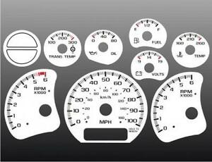 1999-2002 Chevrolet Truck Silverado Dash Cluster White Face Gauges 99-02