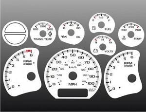 1999-2002 Chevrolet Truck Silverado Dash Cluster White Face Gauges 99-02