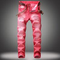 Men/'s Long Wrinkle Straight Leg Slim Fit Jeans Applique Hole Denim Pants Trouser