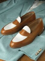 Handmade Men's Brown and White Slip Ons Loafer Leather Shoes