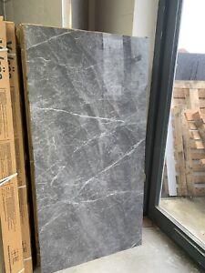 (18 SQM) GREY MARBLE EFFECT PORCELAIN WALL & FLOOR TILES. 60 X 120 CM.