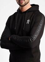Gym King Mens Overhead Hooded Sweatshirt Hoodie Sweater Tape Text Hoody Black