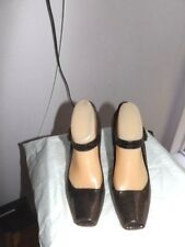 Cerre Exclusive Brown leather peep toe mary jane heels hoes Size 38.5 eur italy