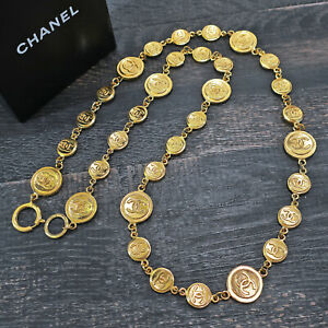 CHANEL Gold Plated CC Logos Coin Charm Vintage Necklace Pendant #6899a Rise-on