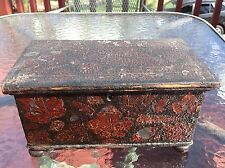 Antique Early American painted dated 1831 signed document box decoupage COUNTRY