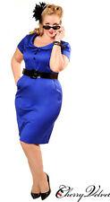 COTTON RETRO DRESS, ROYAL BLUE w BLACK TRIM, HALTER NECK, SIZE 0X (16). UNWORN