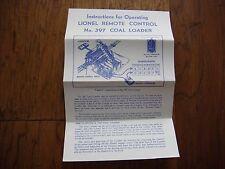 Lionel No. 397 Remote Control Coal Loader Instruction Sheet