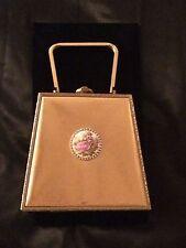 Unique Vintage 1950's handbag, gold tone filigree frame, rhinestones, cameo