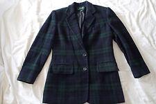 Ralph Lauren blazer,JACKET SZ 4 ,plaid navy blue,green wool ,CASHEMERE  H