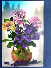 fantaisie , le vase décoré au bouquet de fleurs diverses