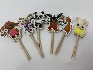 Bing Bunny Themed Cake Picks/Cupcake Toppers Birthday Party Baking 12 Pcs Set