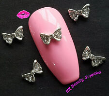 Butterfly Metal 3D Nail Art Bows Diamante Rhinstone Gem Crystal Charms UK SELLER