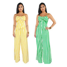 USA Women Stripe Holiday Combinaison Festival Outfits Jumpsuit Rompers #J1