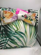Betsey Johnson Bow Palm Print Green Tote Purse Handbag A01