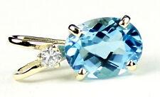 Swiss Blue Topaz, 14KY Gold Pendant, P021