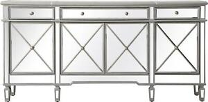 CREDENZA SIDEBOARD CONTEMPORARY BRUSHED STEEL SILVER SOLID WOOD MIRROR M