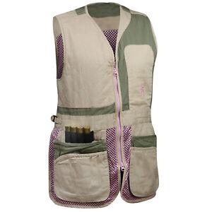 Browning WMNS Trapper Creek Mesh Shooting Vest (XL)- Sage/Tan/Pink