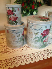 Kitchenware Set of 3 Nested Tin Canisters Family Roses Storage Containers Metal